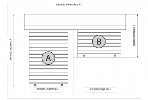 Ustalanie wymiarów w przypadku podwójnej kombinacji o kotarach różnej wysokości