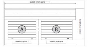 Ustalanie wymiarów w przypadku podwójnej kombinacji o kotarach równej wysokości