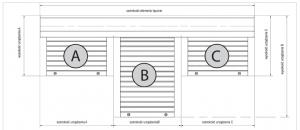 Ustalanie wymiarów w przypadku potrójnej kombinacji o kotarach różnych wysokości